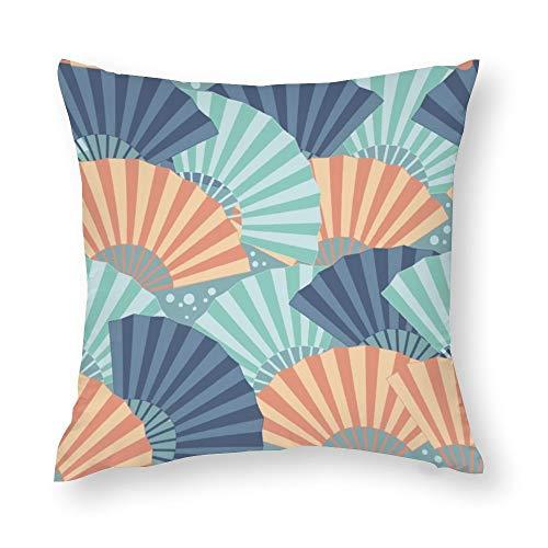 YY-one Fundas de almohada decorativas de colores japoneses, diseño sin costuras, funda de cojín decorativa de algodón para sofá, silla, cuadrado, 50 x 50 cm