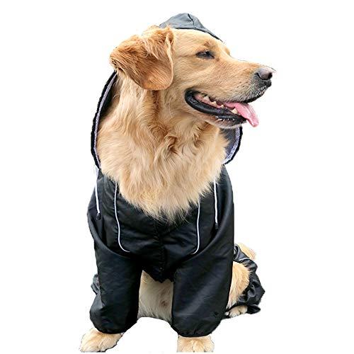 RYDRQF Hunderegenmantel, Leichter Wasserdichter Hundeponcho, Golden Retriever Regenjacke, Hunderegenbekleidung mit Reflektierendem Gürtel, Kleine, Mittlere und Große Hunde,Schwarz,L