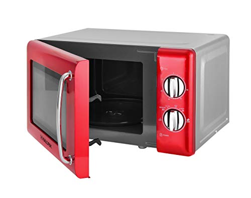 Kalorik TKG MW 2000 RD Micro-ondes design avec compartiment de cuisson de 20 l, minuteur de 30 minutes, fonction décongélation, porte en verre, 700 W, rouge métallisé