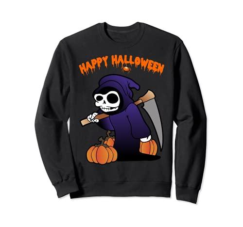 Segador Muerte Esqueleto Calabaza Disfraz de Halloween Sudadera