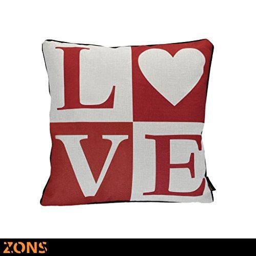 Zons Inscription Coussin Rouge 45x45 Cm 6 Designs + Rembourrage 450g (MRSright)