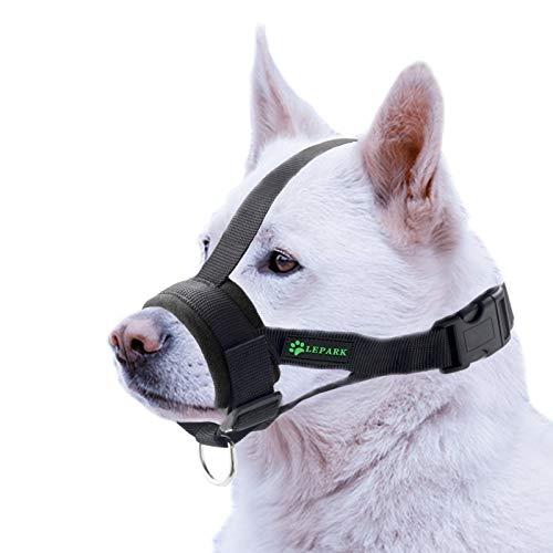 ILEPARK Hunde Maulkorb Soft Nylon Haustier für Kleine,Mittlere und Große Hund,Verhindert Beisen, Bellen und Kauen abzuhalten anpassbare (M,Schwarz)