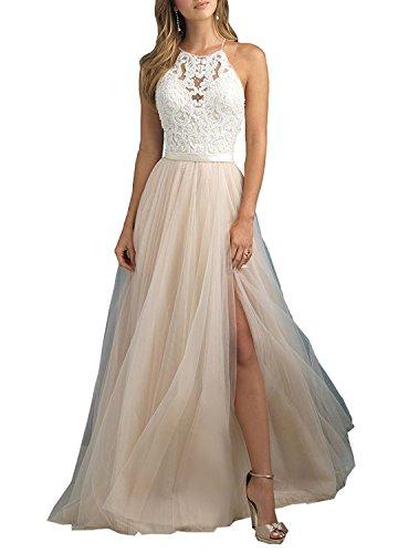 Aurora dresses Damen Tüll Ballkleid Abendkleider Elegant für Hochzeit Spitze Brautjungfer Kleider(Champagne,40)