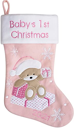 Heart's Sign Babys First Christmas Stocking 2021 | My First Christmas Baby Boy and Baby Girl | Newborn Stockings Christmas Ornaments | Newborn Christmas Decor (Pink)