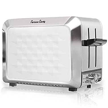 Fortune Candy Toaster 2 Slice Stainless Steel,Toaster for Bagels,Wide Slots Toaster with Removable Crumb Tray