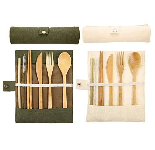2 Juegos de cubiertos de bambú, cubiertos de madera, cubiertos para acampar con bolsa, aptos para el uso diario, viajes, acampar