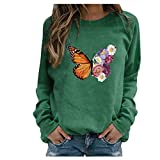 BOIYI Women's Round Neck Long Sleeve Tops T-Shirt Butterfly Printed Casual Loose Pullover Sweater Blouse Solid Colour Jumper(Green,L)