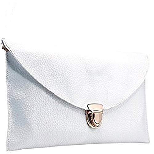 Amaze Fashion Women Handbag Shoulder Bags Envelope Clutch Crossbody Satchel Tote Purse Leather Lady Bag (White)