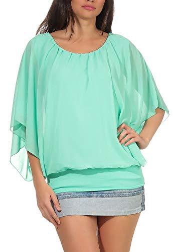 Damen Bluse im Fledermaus Look | Tunika mit Rundhals und breitem Bund | Blusenshirt Kurzarm | Elegant - Shirt 6296 (Mint)