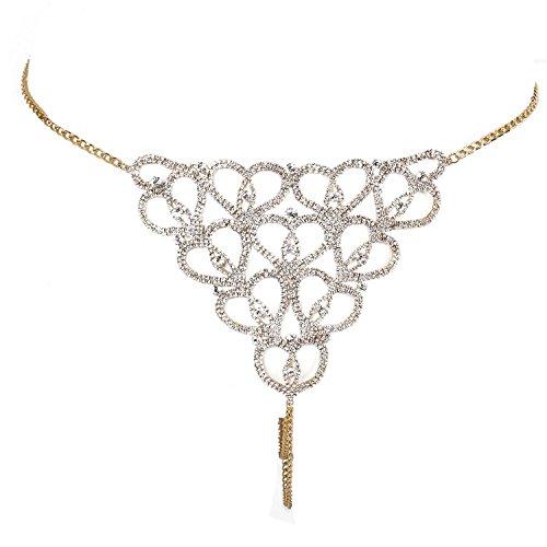 SODIAL Moda catena corpo sexy scava fuori intima Accessori Bikini di cristallo i monili delle donne, oro