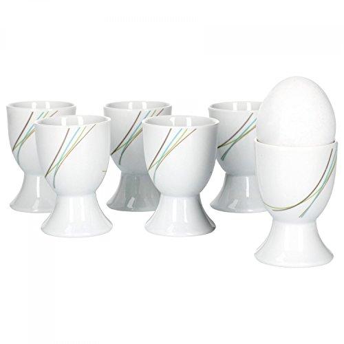 Van Well aliha Lot de 6 Coquetiers, rond Ø 4,8 cm, H 7 cm, ligne décor, élégant Porcelaine de Marques
