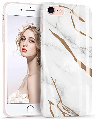 Imikoko Hülle für iPhone 7/iPhone 8 Glitter Bling Rosegold Handyhülle TPU Silikon Weiche Schlank Schutzhülle Handytasche Flexibel Case Handy Hülle(Weiß)