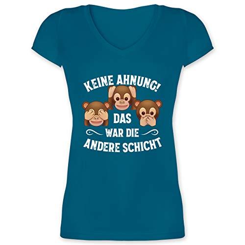 Sprüche Statement mit Spruch - Keine Ahnung das war die andere Schicht Affen weiß - M - Türkis - DREI affen t-Shirts - XO1525 - Damen T-Shirt mit V-Ausschnitt