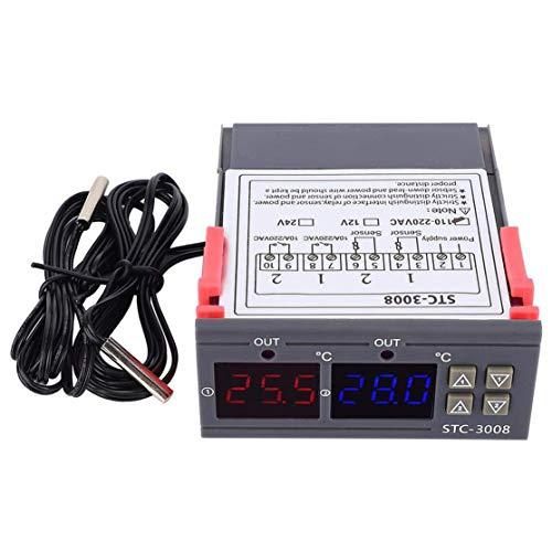 zhouweiwei 12/24 / 110-220V STC-3008 Controlador de Temperatura Termostato Regulador de termómetro con LED Pantalla Dual STC-3008