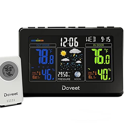 DOVEET Weather Station Wireless Indoor Outdoor, Color Weather Stations with Indoor Outdoor Thermometer Wireless Sensor
