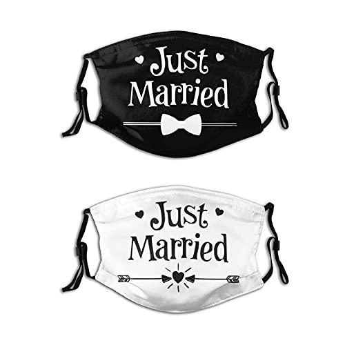 Máscaras faciales reutilizables para bodas, fiestas, regalo de compromiso, para parejas, 2 unidades con 4 filtros