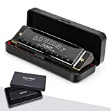 Harmonica Blues Mouth Organ 10 Hole C Key with Case,Diatonic Harmonicas for Professional Player Beginner,Kids, Adult, Friends Gift,Cloth and Manual