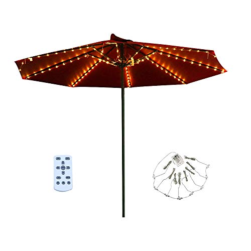 Patio LED Umbrella String Lights, 8 Lighting Mode with Remote Control Umbrella Lights Battery Operated Waterproof Outdoor Lighting for Patio Umbrellas Outdoor Use Camping Tents (A Warm White)