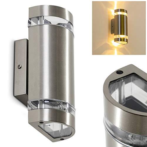 Außenwandleuchte Maturin, Wandlampe aus Metall in Edelstahl mit Kunststoff-Scheiben, Wandleuchte m. GU10-Fassung, max. 35 Watt, Außenleuchte mit Up & Down-Effekt, geeignet für LED Leuchtmittel