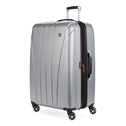 SwissGear 7585 Hardside Spinner Luggage, Silver, Checked-Large 27-Inch