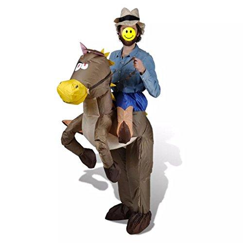 Donin Kostüm und Zubehör, Kostüm, Cowboy und aufblasbares Pferd, geeignet für Männer oder Frauen von 1,5 m bis 2 m, Karnevalkostüm für Erwachsene