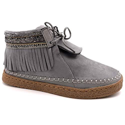 Angkorly - Damen Schuhe Stiefeletten - Mokassin Stiefel - Folk - Fransen - Fantasy - Bestickt Flache Ferse 2 cm - Grau M862 T 41