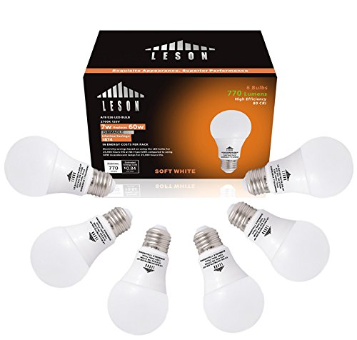 Leson Dimmable A19 LED Light Bulb Standard E26/E27 Base 7W Energy Saving, Equivalent to 60 Watt Incandescent Bulbs, 770lm Soft Warm White 2700k (6 Pack)