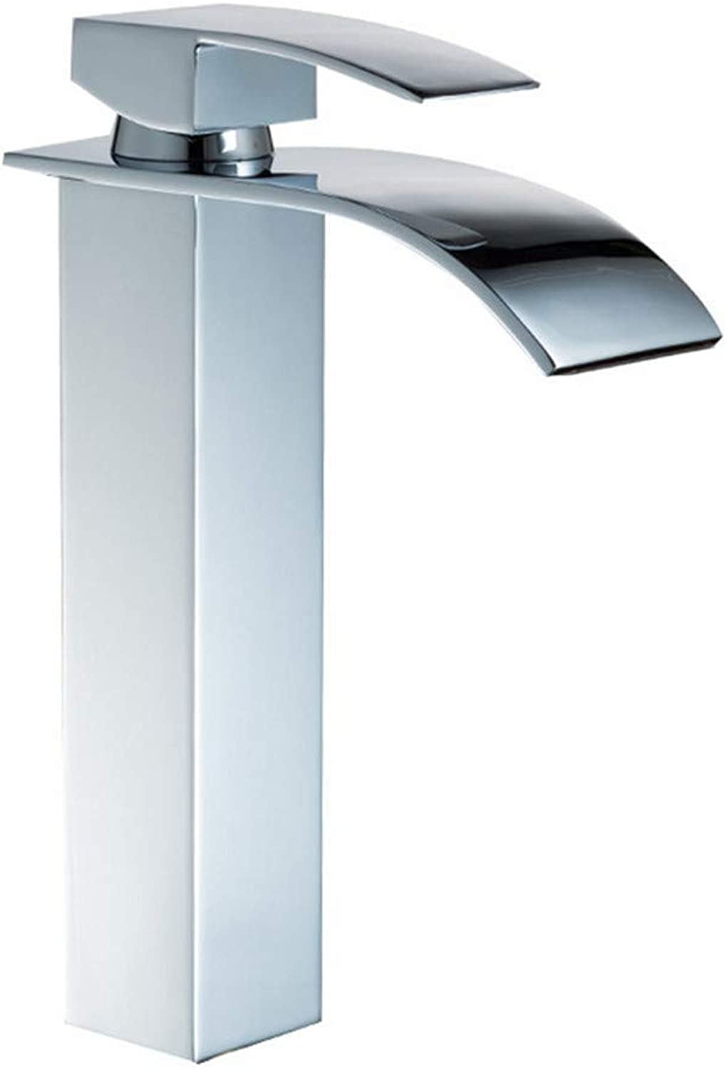 XINXI HOME Bathroom Sink Taps Chrome Waterfall Basin Faucet Square Single Hole Washbasin Hot And Cold Water Mixer