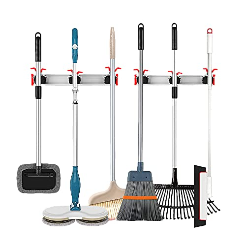 Product Image of the Stormann Mop Broom Holder Wall Mounted Heavy Duty Hooks Organizer Storage Tool Racks Wall Hanger for Home,Kitchen,Garage,Garden,Laundry Room,Bathroom Organization and Storage,Pack of 2