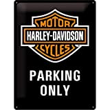 Nostalgic-Art Harley Davidson Parking Only Placa Decorativa, Metal, Negro y Naranja, 30 x 40 cm