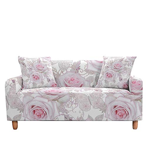 Vlejoy Universal Cubre Sofas Ajustables 3D Rose Flower Fundas para Sofá para Sala De Estar Seccional En Forma De L Sofá Funda para Sofá-Color-D_4 Plazas (235-300cm)