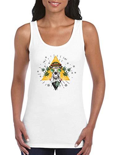 Druckerlebnis24 Camiseta sin mangas con diseño de camel Marihuana, gafas Jamaica, top para mujeres y señoras