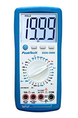 PeakTech 3335 – Digital Multimeter mit extra großem LCD-Display, Handmultimeter, Data-Hold, Messung, Spannungsmesser, Durchgangsprüfer, Messgerät, Strom, Manuelle Bereichswahl, CAT III - 600V
