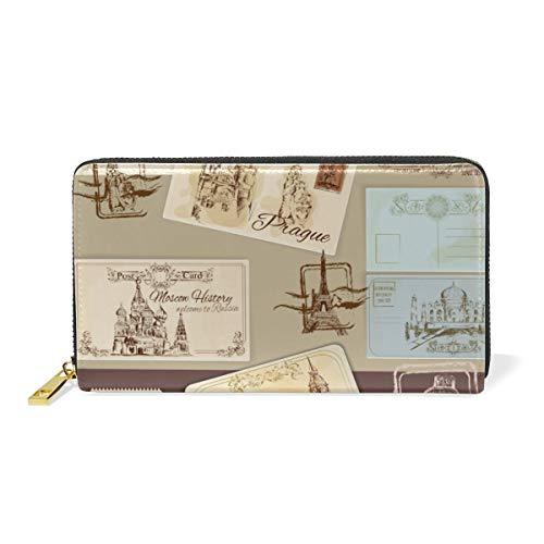 Vintage Postkarten Stempel Leder Brieftasche Reißverschluss Geldbörse Telefon Kreditkartenetui Portemonnaie Wallet für Frauen Mädchen Männer