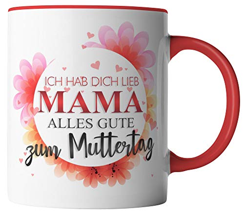 vanVerden Tasse - Ich hab dich lieb Mama Alles Gute zum Muttertag - Geschenk zum Muttertag - beidseitig Bedruckt - Idee Kaffeetassen, Tassenfarbe:Weiß/Rot