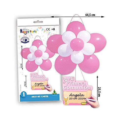 Kit Cartel Globos Comunión en Rosa para Decorar la Fiesta de Primera Comunión. Lote 2 Kits.