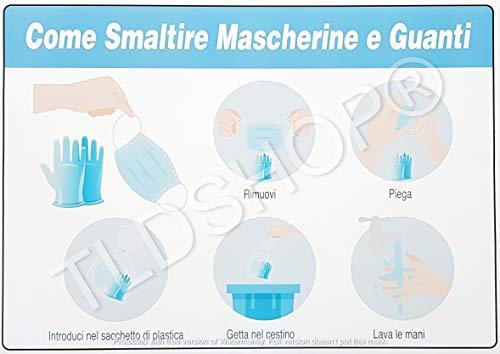 TLDSHOP® SEGNALETICA COVID-19:'Come smaltire mascherine e guanti' 29,7X42 cm - PZ 1