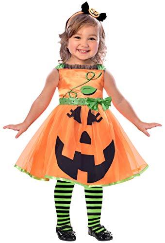 Amscan 9903392 - Kinderkostüm Niedlicher Kürbis, Kleid und Haarreif, Kleinkinder, Mottoparty, Karneval, Halloween