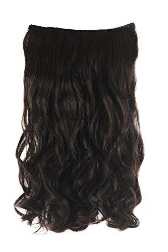 """Xiaoyu femmes femmes 17,7 """"(45 cm) long ondulé ondulé 5 clips sur les extensions de cheveux - brun foncé"""