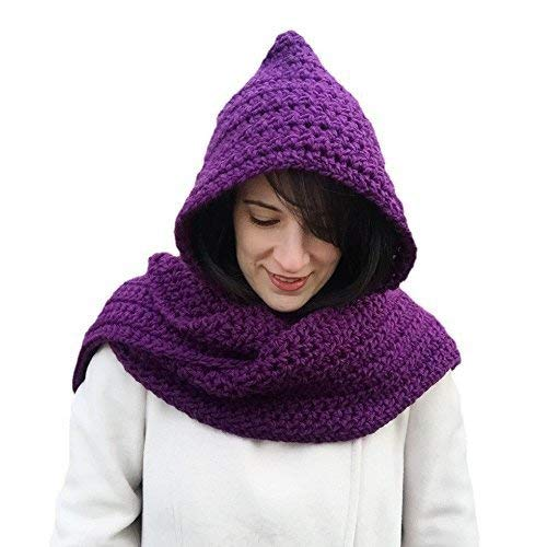 Royal Eggplant Recommended Purple Long Crochet Scarf Women Hooded Max 41% OFF for Winter