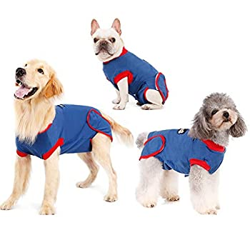 Recovery Suit for Dogs Cats After Surgery Recovery Shirt for Male Female Dog Abdominal Wounds Bandages Cone E-Collar Alternative Anti-Licking Pet Surgical Recovery Snuggly Suit Soft Fabric Onesie