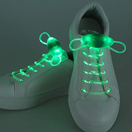 FACAI Lacets LED Luminescente Lacets Ronds Lacet Paresseux 4 Paires Lacets CréAtif Jouets Lueur dans Pas Besoin Nouer Convient Aux...