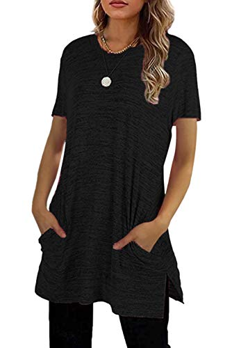 MAGIMODAC Sommer Tshirt Damen Shirt Lang Kurzarm Longshirt Basic Oberteile Tunika mit Taschen (Schwarz, L)