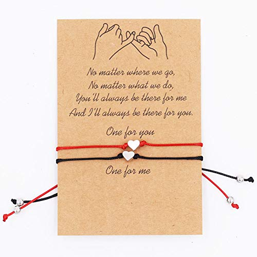 6 Pcs Cœur Bracelet Corde pour Femme Fille Couple Simple Coeur d'amour Réglable Bracelet en Corde