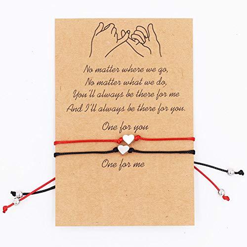REYOK 6 Piezas Pulsera de Cuerda de Corazón para Mujeres Niñas Pareja Sencillo Amor Corazón Ajustable Pulsera de Cuerda,Filigrana Corazón Pulsera Plata