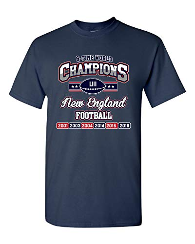 New World Champion 6-Time Football DT Adult T-Shirt Tee (XX Large, Navy Blue)
