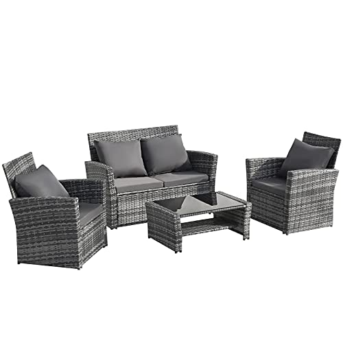Betos - Set di mobili da giardino in rattan, 4 posti, con rivestimento per mobili