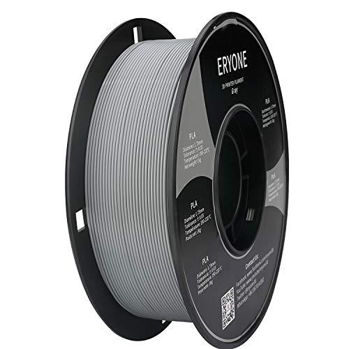 Filamento PLA 1.75mm, Eryone PLA Filamento 1.75mm, Stampante 3D Filamento PLA per Stampante 3D, 1kg 1 Spool, Grigio