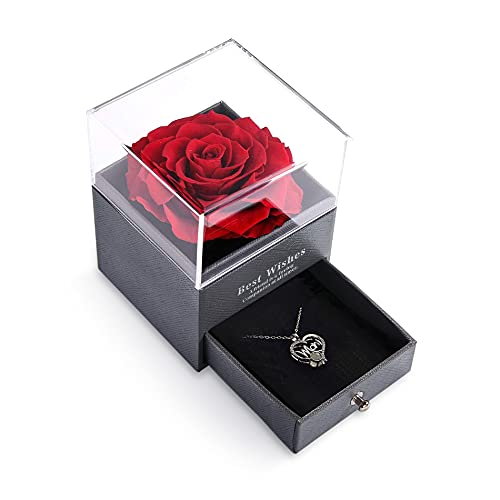 Gifts for Mom from Daughter and Son Preserved Real Rose with 100 Language I Love You Christmas/Mothers Day/Birthday Gifts for Mom/to Be New Mom Gifts