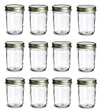 PremiumVials, 12 pcs, 8 oz, Mason Jars with Lids for Jam, Honey, Wedding Favors, Shower Favors, Baby Foods, Canning, spices, Half Pint with Gold lids